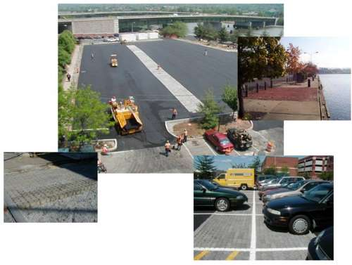 Examples of use of permeable pavers.  Photos provided by the Low Impact Development Center, Inc.